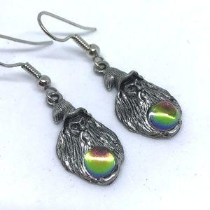 Pewter Wizard Crystal Ball Pierced Earrings